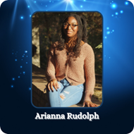 blue background with image of a young lady with the words Arianna Rudolph
