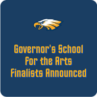 navy background with words in gold Governor's school for the arts finalists announced