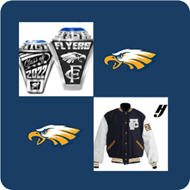 Blue background with a flyer head, a class ring, and letter jacket