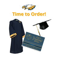 White background with the words Time to Order in yellow and a cap, gown, and graduation announcement
