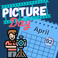 blue background with a calendar page of April with the second circled with the words picture day.