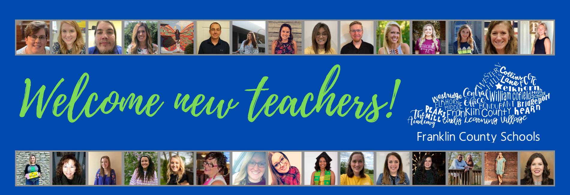 We would like to welcome all of our new teachers to our FCS team! #OneTeamFCS
