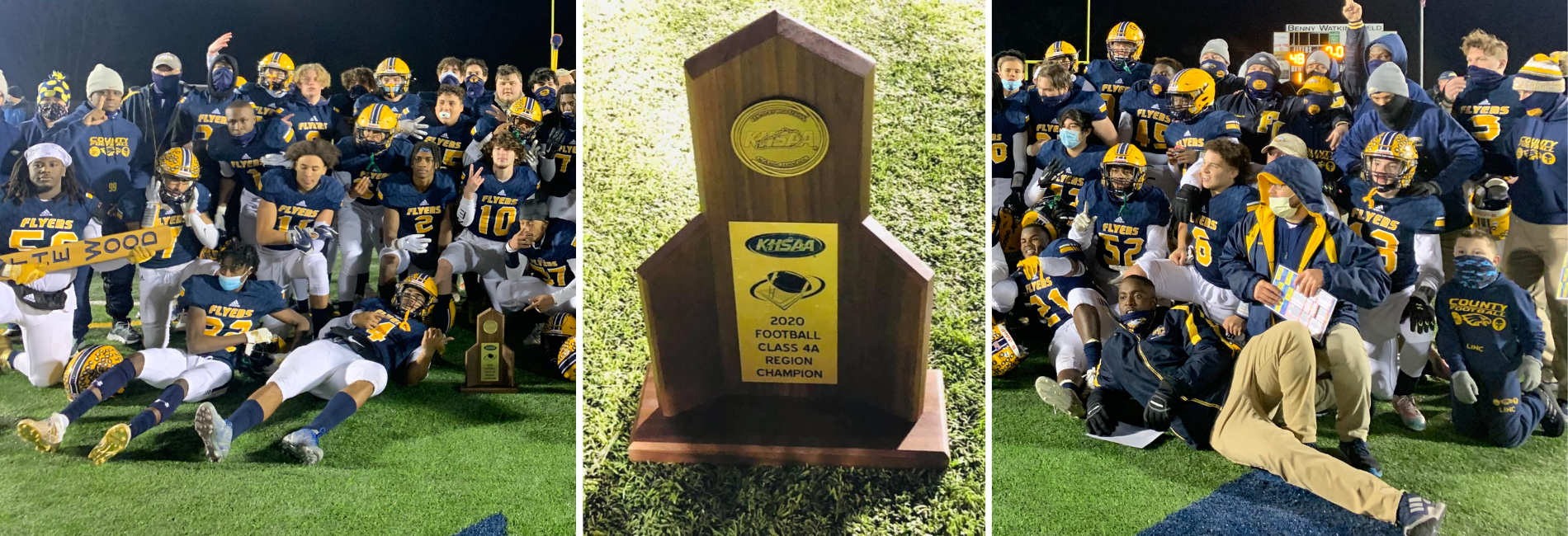 three frames with the left and right frame a football team and the center frame is a regional football trophy